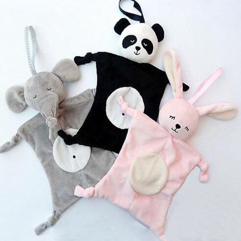 28*28 см мультяшный слон Кролик Медведь Детские плюшевые куклы слюнявчик одеяло игрушки для детей многофункциональные детские полотенца Сал...