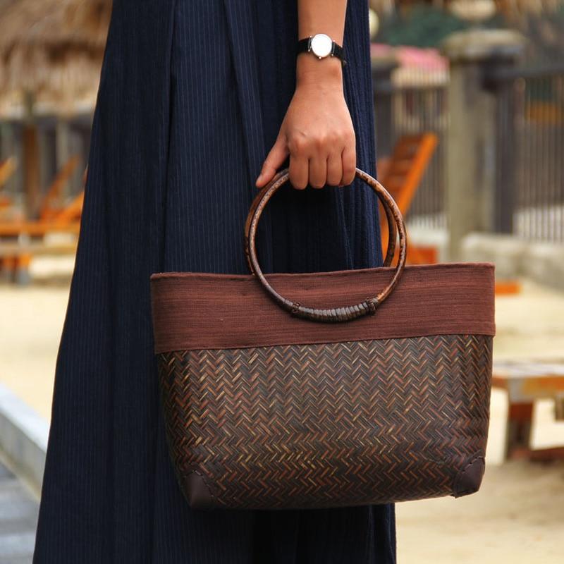 Handmade Retro bamboo rattan fashion ladies handbag old straw bag rattan weave wooden handle retro handbag woven  bags for women