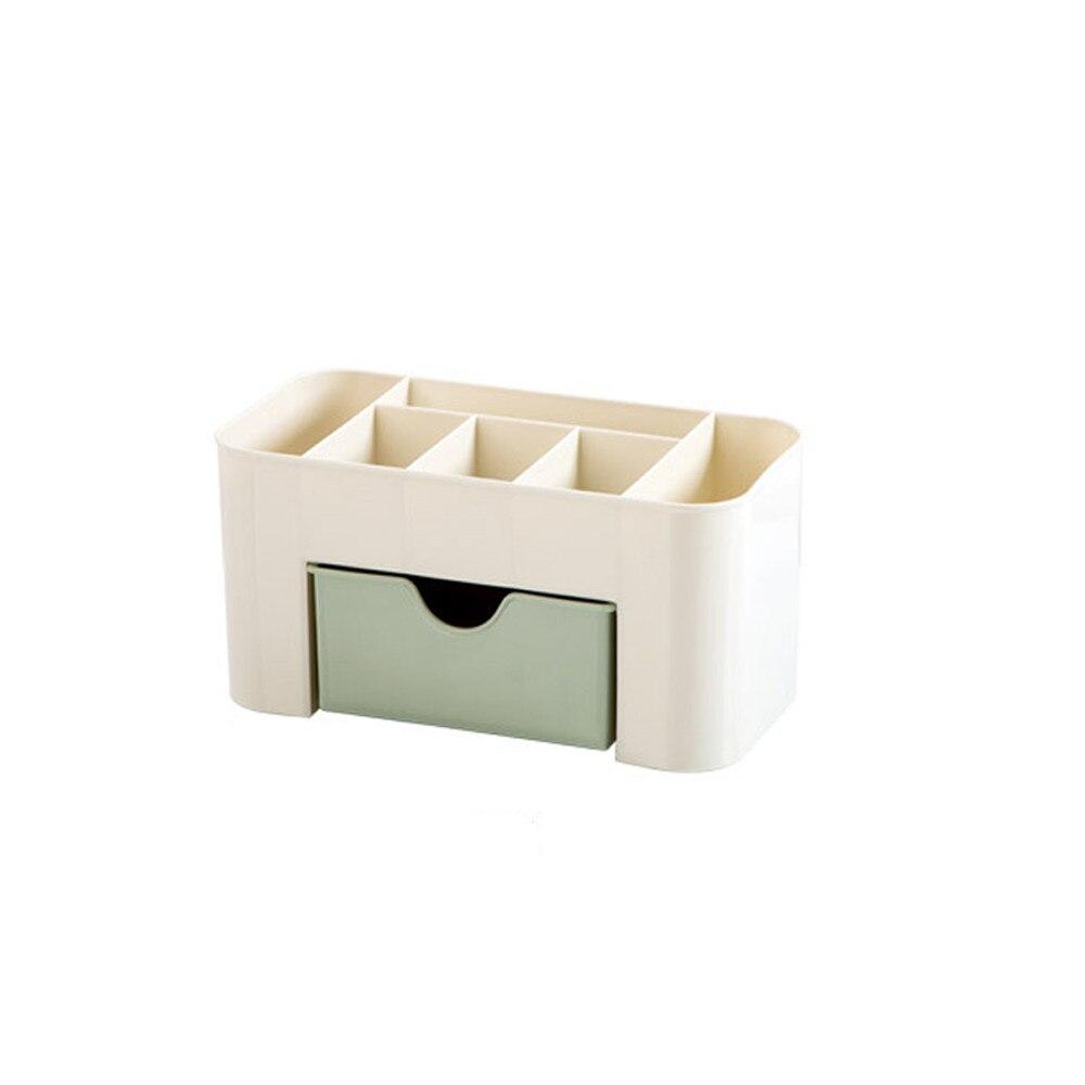 Plastic Desktop Comestics Makeup Organizer Make Up Brush Storage box with Drawer Cotton Swabs Stick Storage case Saving Space