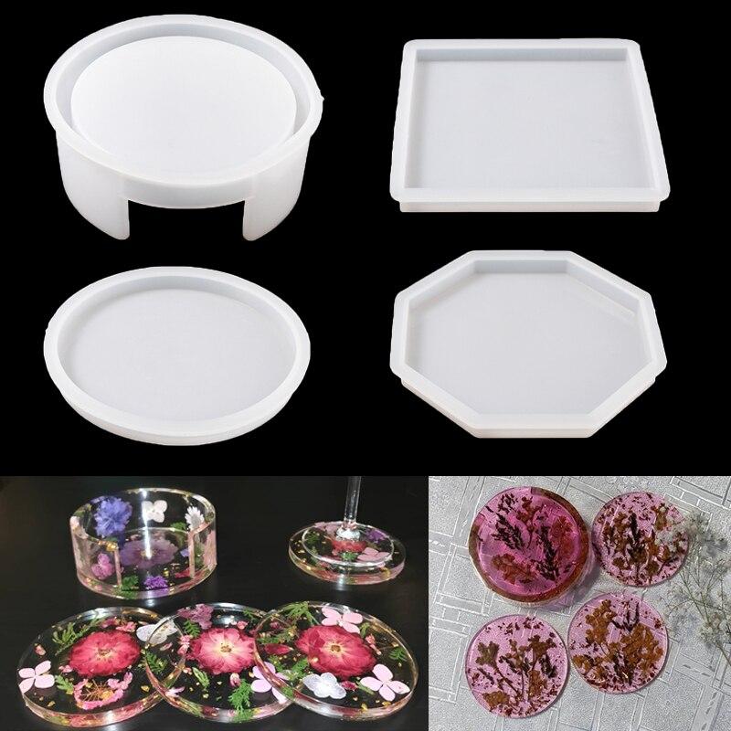 Эпоксидная смола, форма, круглая квадратная Подставка под стакан, силиконовая форма, DIY Coaster коробка для хранения, полимерная форма, ручная р...