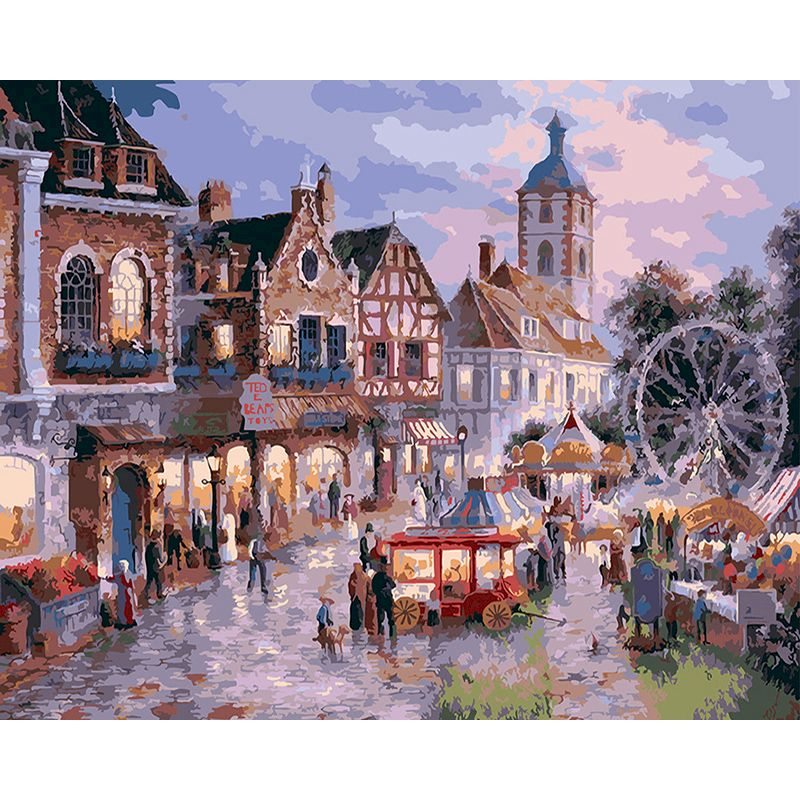 SELILALI Painting By Numbers Town Night Scenery Oil Picture Number 40x50cm Framed Acrylic Paint Drawing On Canvas Wall Decors