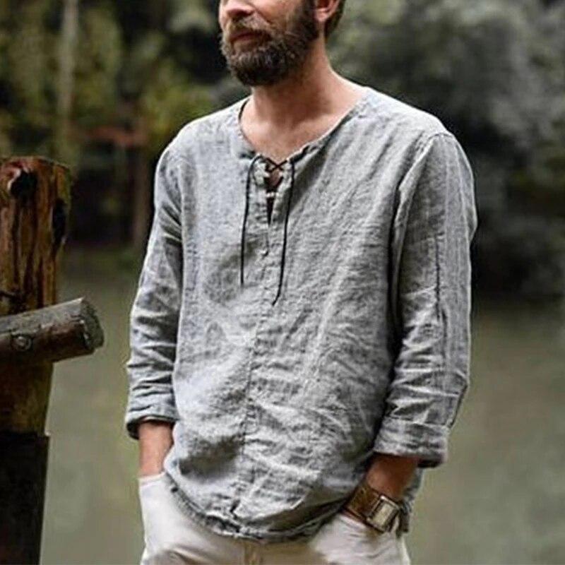2021 Camiseta de lino con cuello en V para hombre Camisa casual...