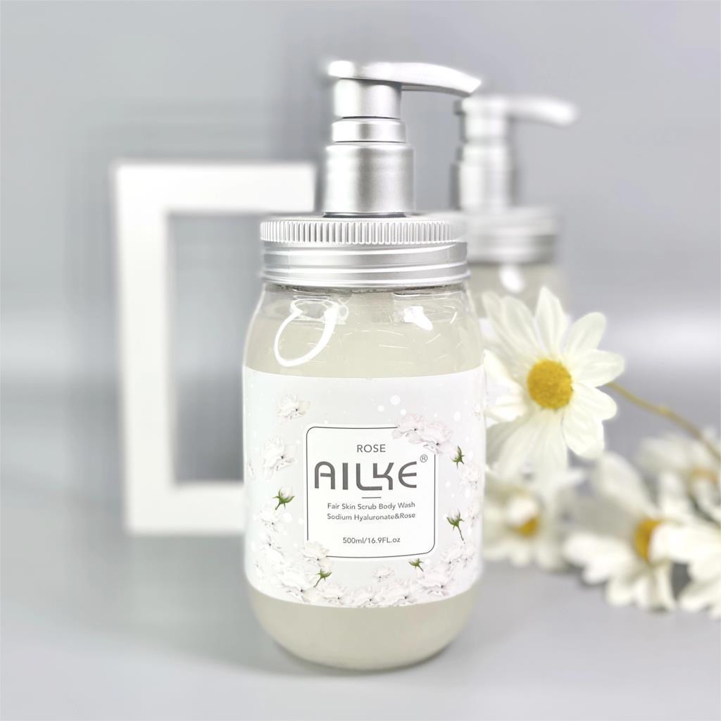 AILKE Whitening Shower Gel Women Cleaning Roses Body Wash Perfume Lotion Scrub Fragrant Moisturizing Summer Bath Foam Female