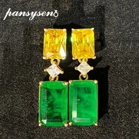 pansysen luxury rectangle citrine emerald gemstone drop earrings solid 925 sterling silver earrings for women fine jewelry gifts