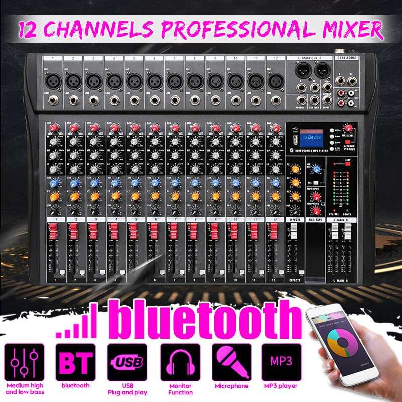 مضخم صوت رقمي 12 قناة ، وحدة خلط صوت ستيريو ، وحدة تحكم بلوتوث ، USB للكمبيوتر الشخصي ، تسجيل الكمبيوتر ، استوديو الحفلات