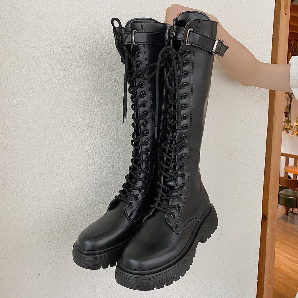 2021 صيف جديد فارس الأحذية صافي الرجعية كلية النمط البريطاني سميكة القاع كعب سميك دراجة نارية الأحذية الموضة
