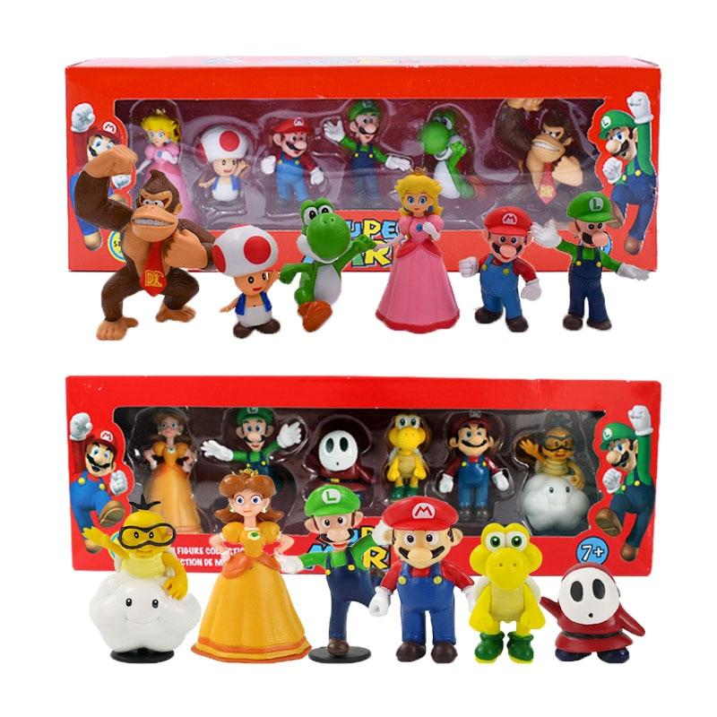 Super Mario Bros боусер Луиджи Купа Йоши валуиджи жаба, в форме персика принцесса Одиссея Ослик Конг фигурка модель куклы игрушки коробка
