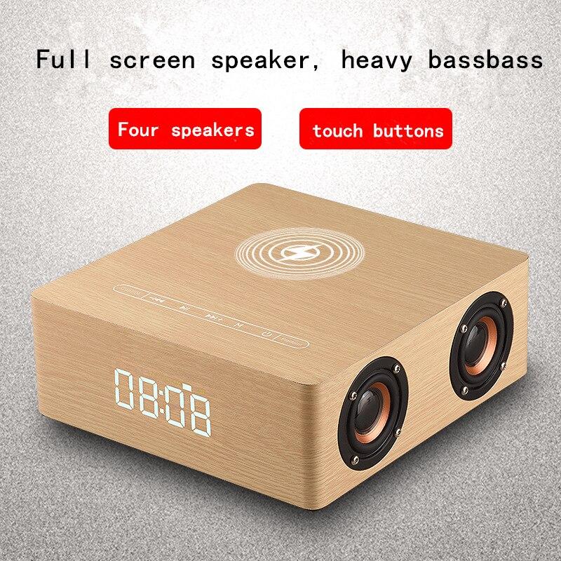 Cargador inalámbrico multifunción Q5A, reloj despertador, Altavoz bluetooth adecuado para iPhone, reproductor de música estéreo, sonido envolvente de música