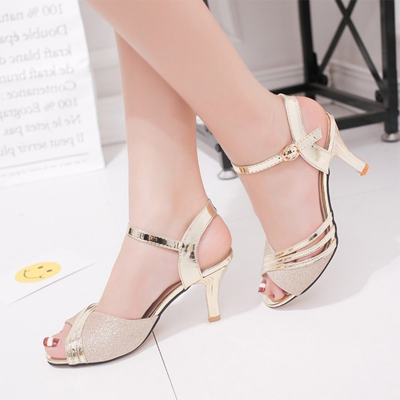 Women SandalsSummer Shoes Woman Dress Shoes Bling Weddging Shoes Silver High Heels Pumps Ladies Shoe