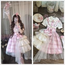 Palácio doce princesa lolita cinta vestido do vintage falbala impressão de cintura alta vestido vitoriano kawaii menina gótico lolita cos loli