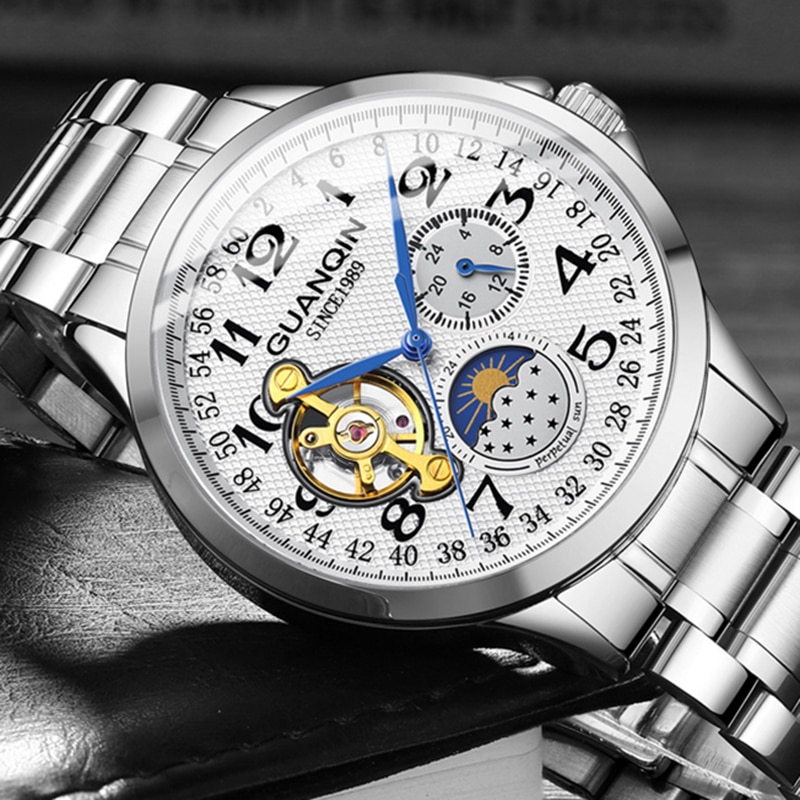 Reloj Mecánico GUANQIN, reloj tourbillon de esqueleto automático impermeable para hombres, reloj de negocios de marca superior, reloj Masculino de lujo