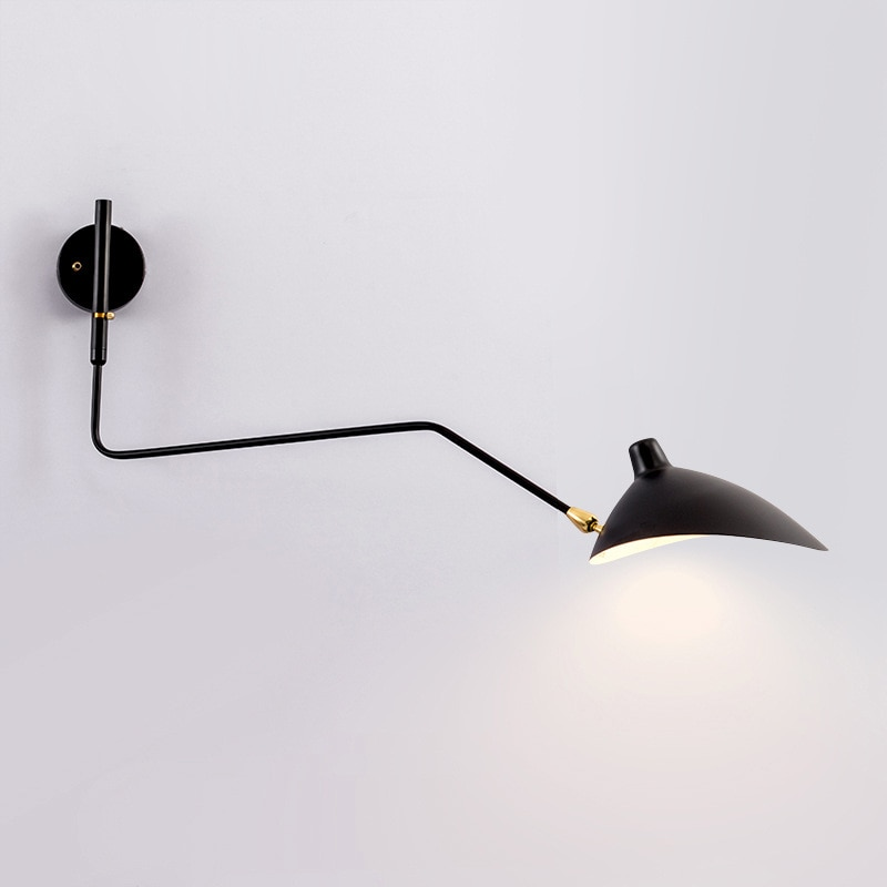 Modern Black White Retro Loft Industrial Vintage Wall Lamps French Designer Rotating Sconce Wall Lights For Home Decoration