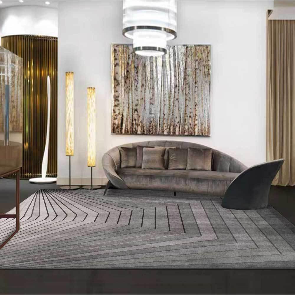 سجادة مخملية بسيطة وعصرية ، تقليد تجريدي ، خطوط فولاذية ، غرفة نوم ، بجانب السرير ، غرفة معيشة ، باب المدخل