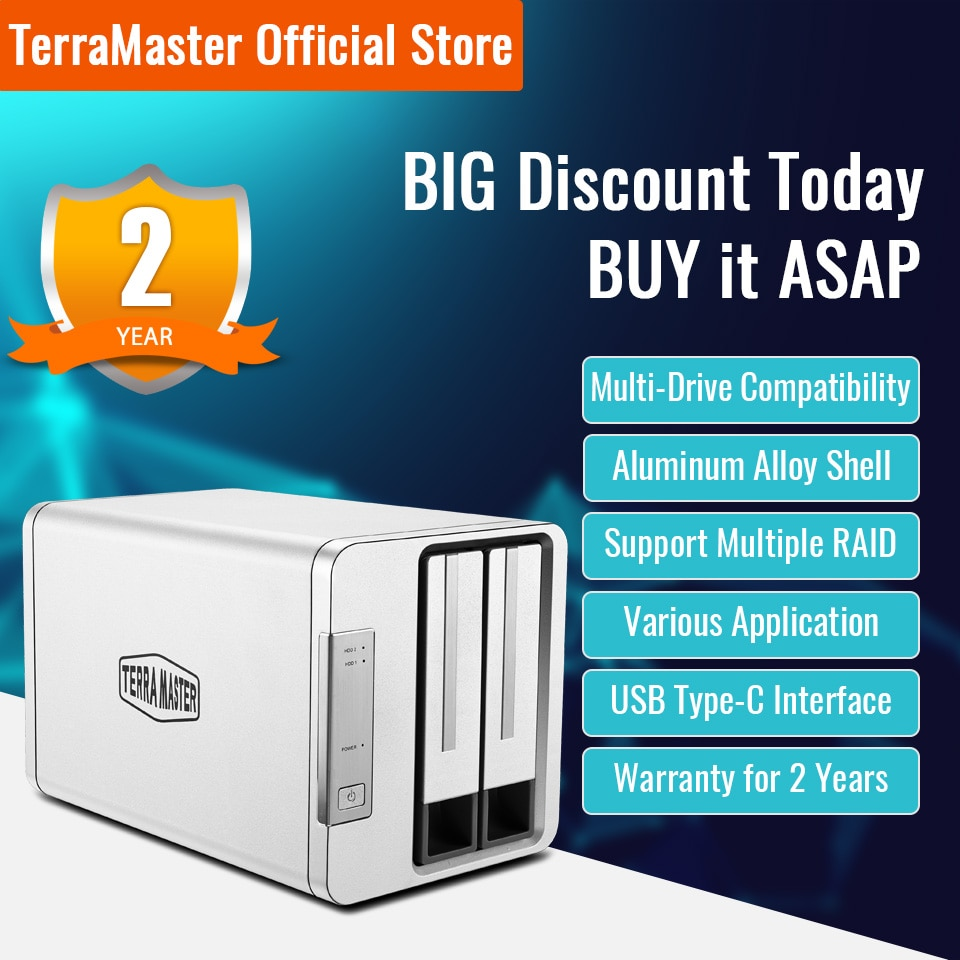 TERRAMASTER D2-310 USB Type C External Hard Drive RAID Enclosure USB3.0 (5Gbps) 2-Bay RAID Storage (Diskless)
