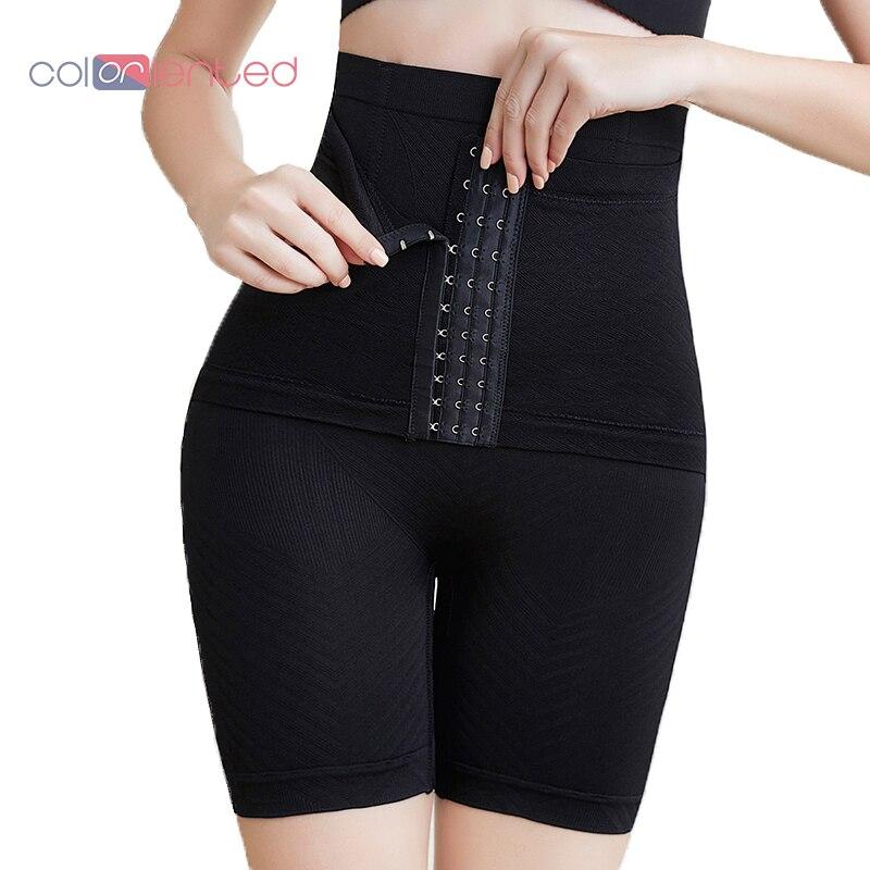 Coloriented novo design feminino shaper com cinto espartilho inverno grosso shapwear cintura alta trainer calcinha 3 fivela senhoras shorts