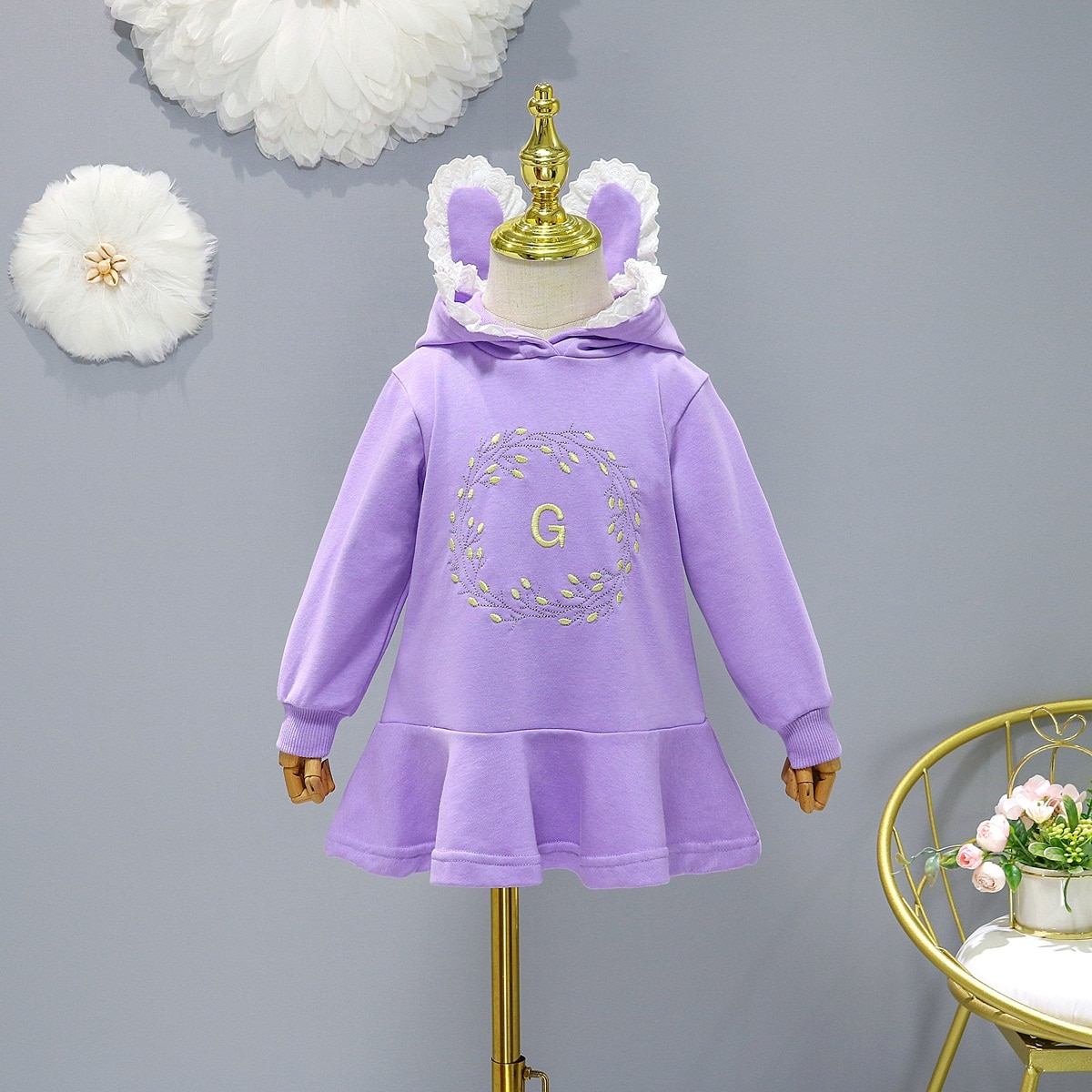 Kids Dress Baby Girls Clothes Casual Costume Bunny Ear Hooded Spring Autumn 1-7 Years Daily Dresses For Girl Children's Clothing