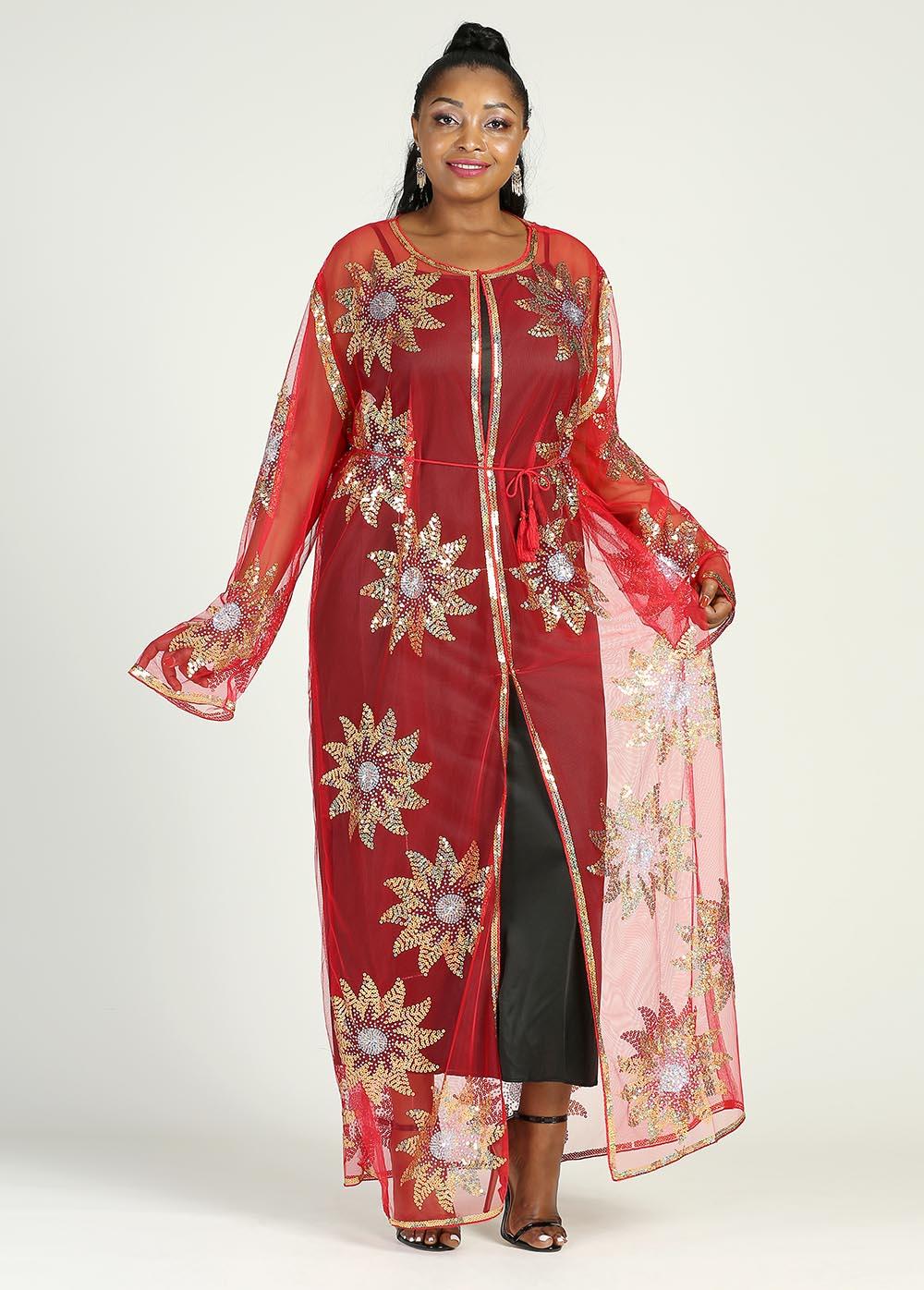 نمط جديد الملابس النسائية الأفريقية Dashiki عباية أنيقة الشاش النسيج الترتر موضة فستان طويل فضفاض حجم الحرة قطعة واحدة