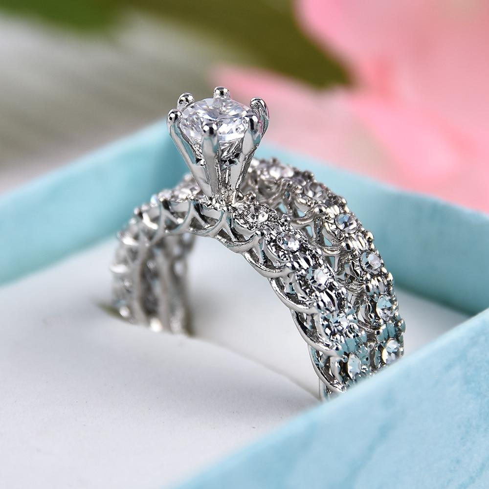 2 uds acepta personalizado joyería, anillo de cristal conjunto europeo y americano con incrustaciones de diamantes de imitación de moda par anillo anillos de boda las mujeres