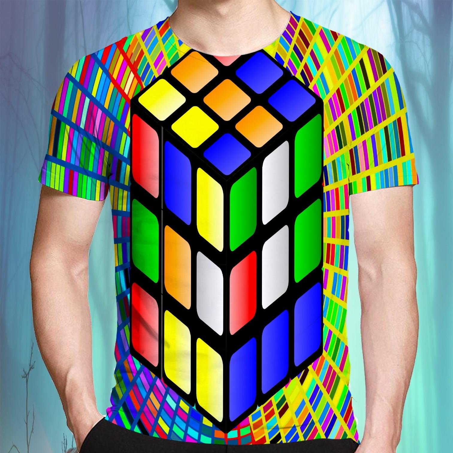 De moda para hombre divertido 3D impresión T camisas de vértigo hipnótico cubo mágico Arco Iris camisa