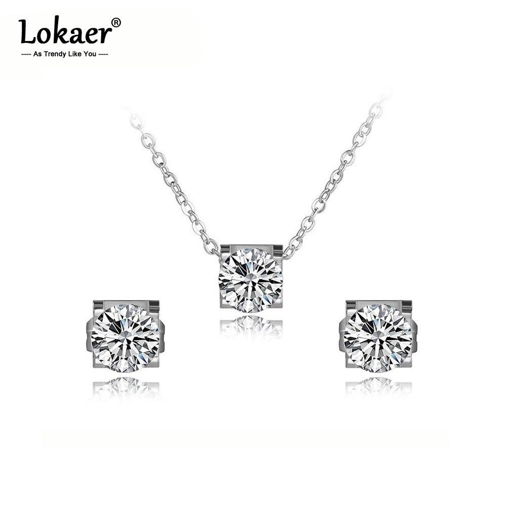 Lokaer Klassische Rose Gold Glänzenden Zirkonia Ohrringe Halsketten Set Für Frauen Edelstahl Hochzeit Braut Sets Schmuck SE027