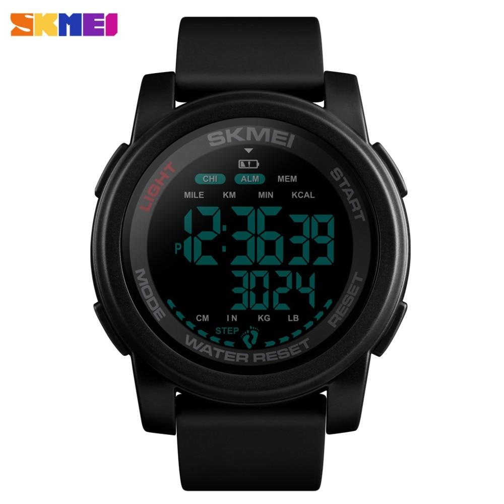 SKMEI Sport Watch Men Digital Watch Calorie 5Bar Waterproof Week Display Silicone Strap Digital Watches Relogio Masculino Reloj