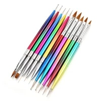 5pcsset metal gradient nail pen double headed pointing drill pen pull line pen japanese light therapy pen painted pen tool rod
