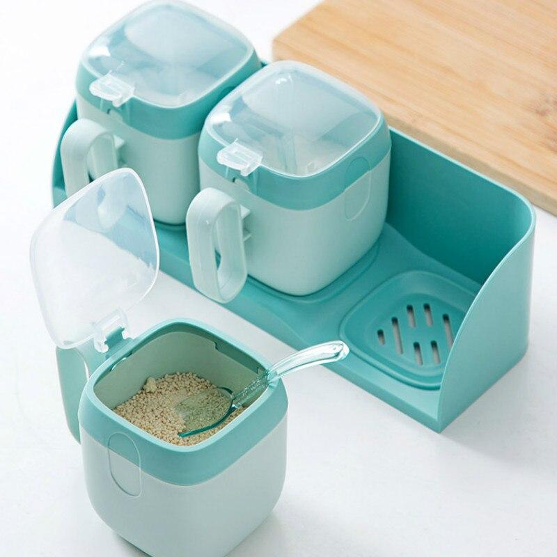 Maceta de condimento colgante de pared con cuchara caja para condimentos de plástico con tapa cocina doméstica bote para sal contenedor de especias