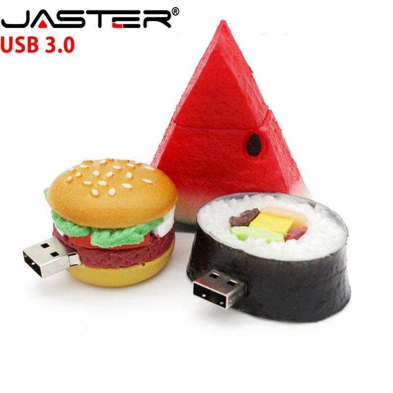 Unidad flash usb de comida hamburguesa JASTER 3,0, bolígrafo de sandía de sushi creativo, 4 GB, 16 gb, 32 gb, 64 GB, disco de memoria, juguete de regalo