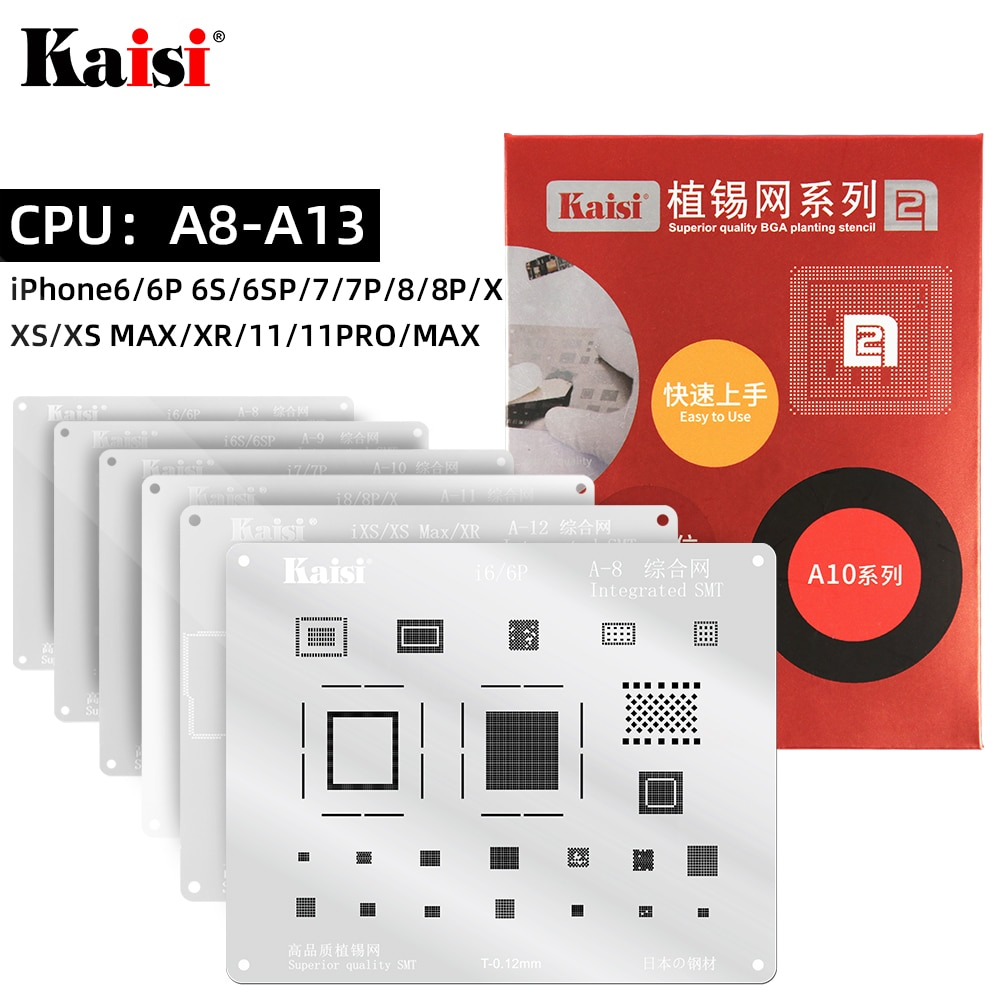 Kaisi 0.12mm BGA Reballing Stencil Kit Set Solder Template for iPhone IC CPU A8A9A10A11A12A13 11Pro/Max XS XR 8 8P 7P 6S 6P 5S 10pcs 1608a1 1610a1 1610a2 1610a3 610a3b 1612a1 for iphone 5g 5s 5c 6 6p 6s 6splus 7g 7p 8 8p x u2 charger ic usb charging chip