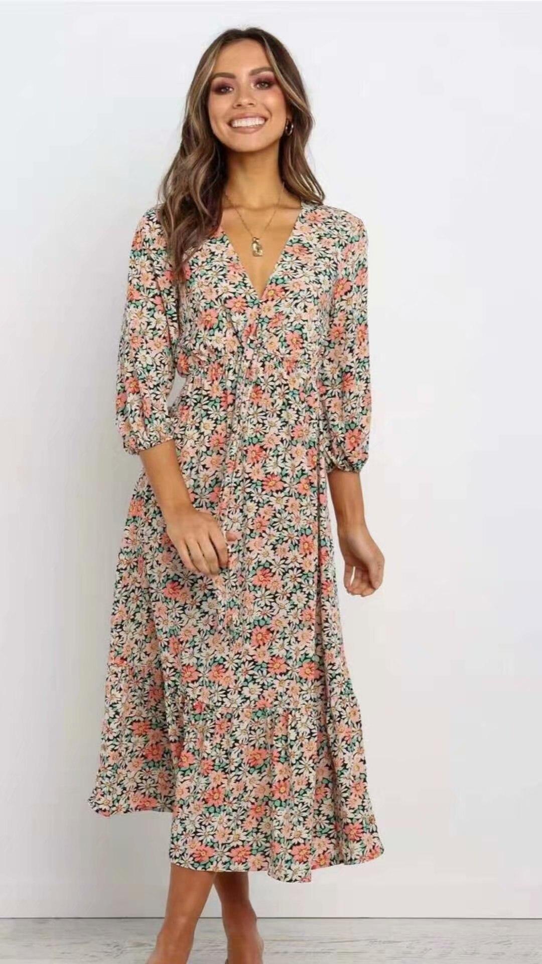 ¡Novedad de primavera-verano 2020! Vestido estampado europeo zaraing de sheining para mujer, ropa de calle S435