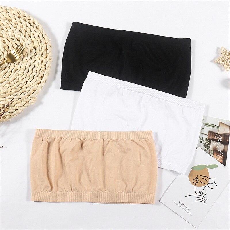 Camisetas de tubo sencillas de una pieza para mujer, lote de 3 unidades, cómoda tela sin tirantes y cómoda, camisetas de tubo deportivas para mujer