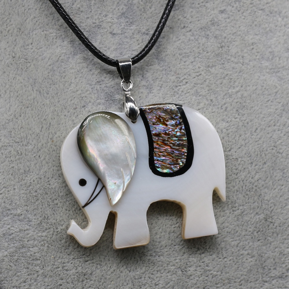 Charm Lucky Animal Elephant Shells Pendant Necklaces for Women Jewelry Natural Mother of Pearl Shell Leather Rope Necklace Gift  - buy with discount
