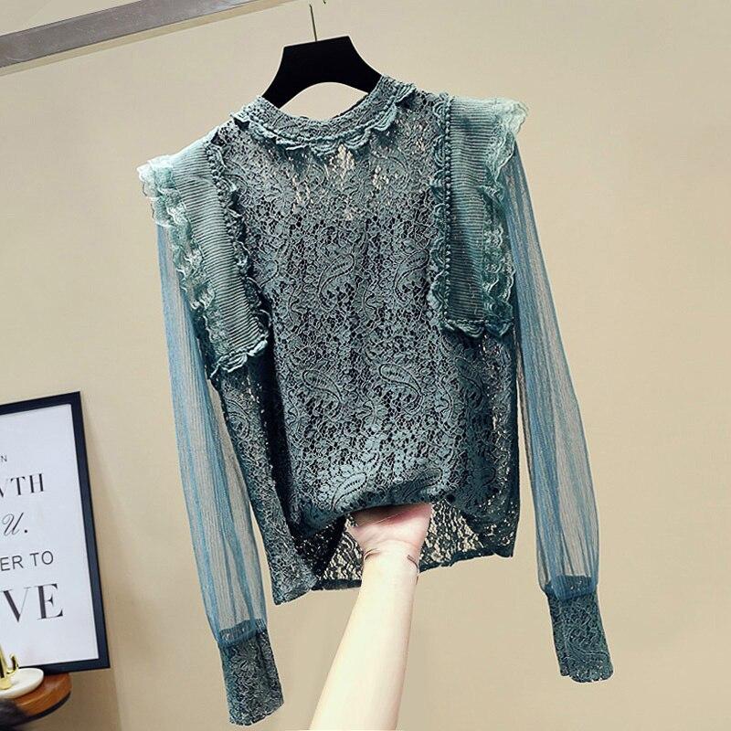 MUMUZI Floral Crochet Long Sleeve Summer Blouses Shirt 2020 New Plus Size 2XL OL Elegant Tops Women Blouse and Tops