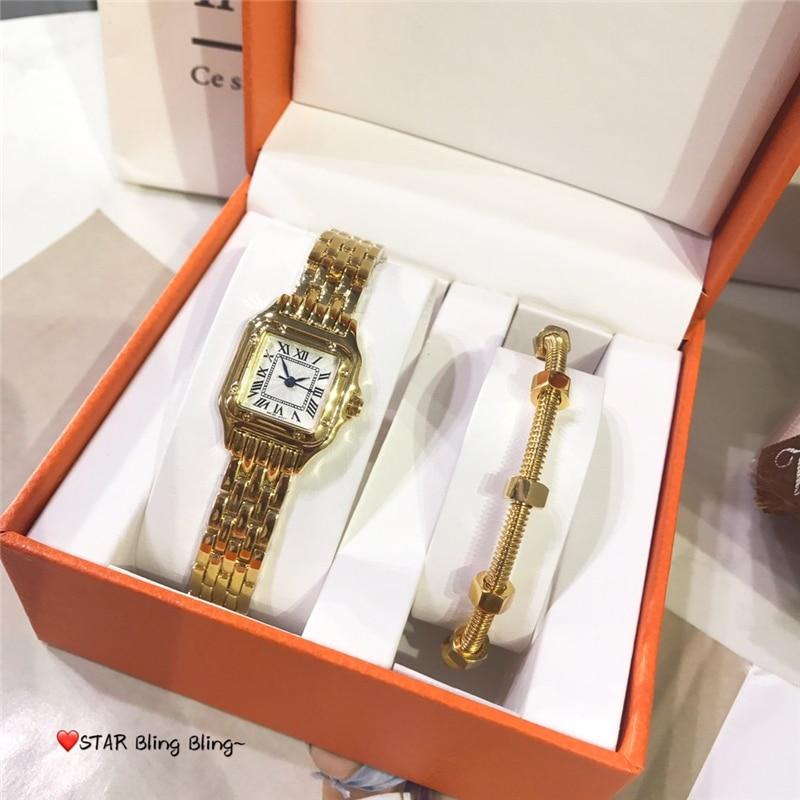 Marca c conjuntos de jóias quentes de 2 clássico 316l aço inoxidável 28mm quartzo feminino assista parafuso prego pulseira jóias luxo atacado