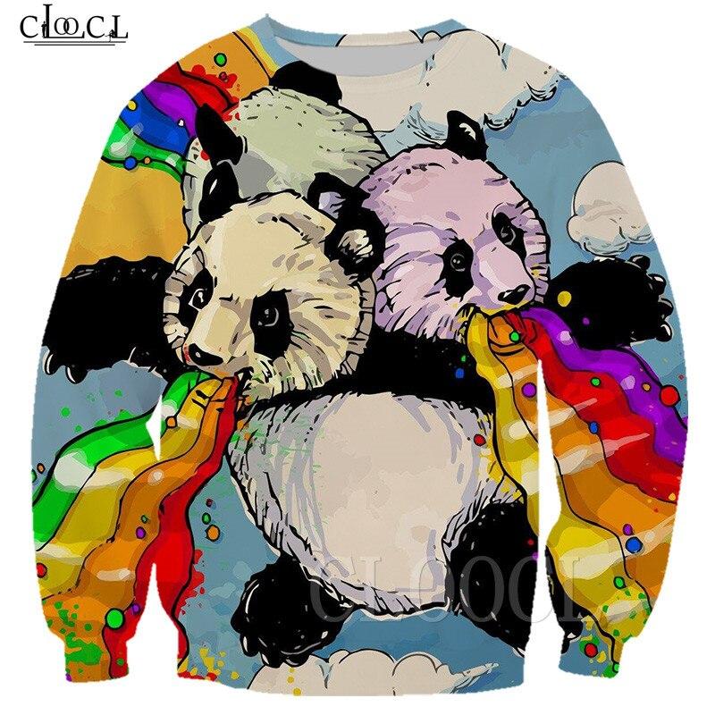 2019 New Rainbow Panda Camisetas Hoodies Camisola Unisex 3D Impresso Panda Hoodie Do Zipper Colete Casual Sportswear Das Mulheres Dos Homens Tshirt