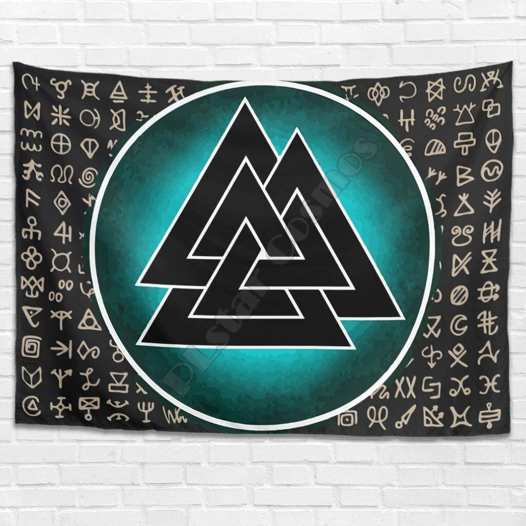 PLstar Cosmos Tapestry Viking Tattoo 3D Printing Tapestrying Rectangular Home Decor Wall Hanging Home Decoration Style-05