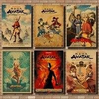 Affiches et imprimes Vintage en papier kraft  Avatar le dernier maitre davion  affiche de combat Aang Anime  decoration murale pour la maison  42x30cm