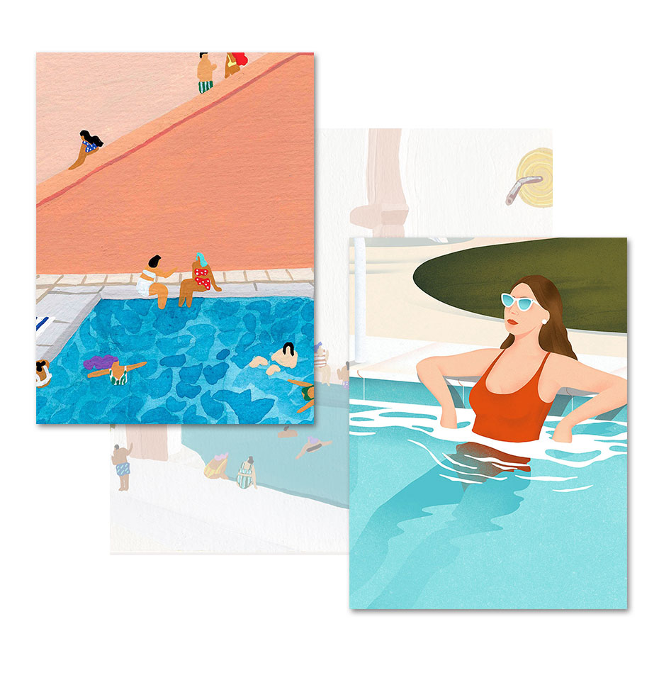 Summer pool party Wall Art Canvas Painting Posters And Prints Swimming Wall Pictures Interior For Living Room Decor Unframed  - buy with discount