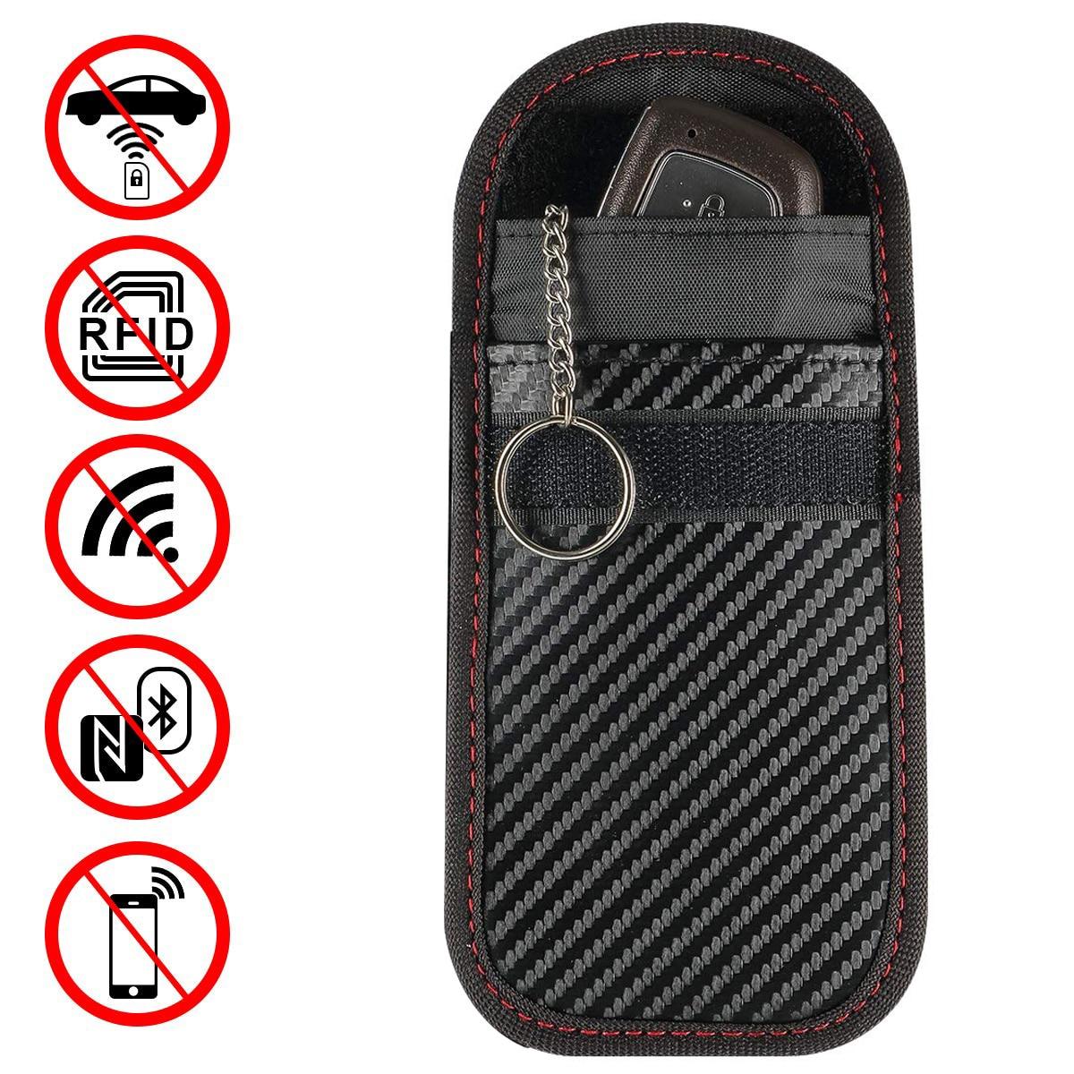 1pc/2pcs Portable Signal Blocker Car Key Case Faraday Cage Keyless Entry Fob Pouch RFID Blocking Bag with Key Chain Ring