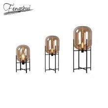 Moderne verre lumière de plancher LED Vloerlamp lampe sur pied lumières salon chambre Restaurant lampadaires luminaires de cuisine