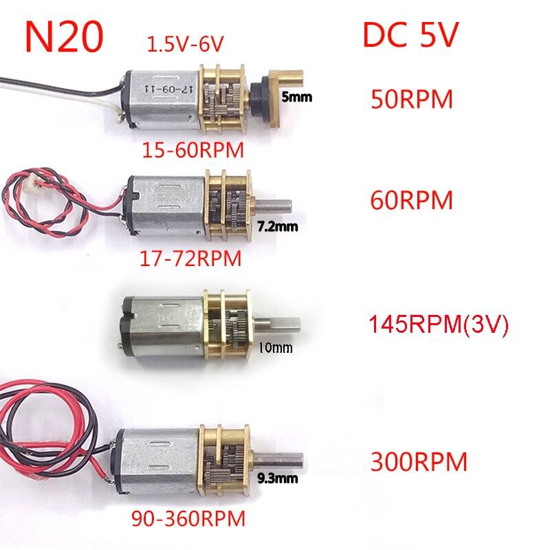 10 pcs lote dc 3v 6v n20 50 60rpm rpm 145rpm 300rpm motor da engrenagem redutor de