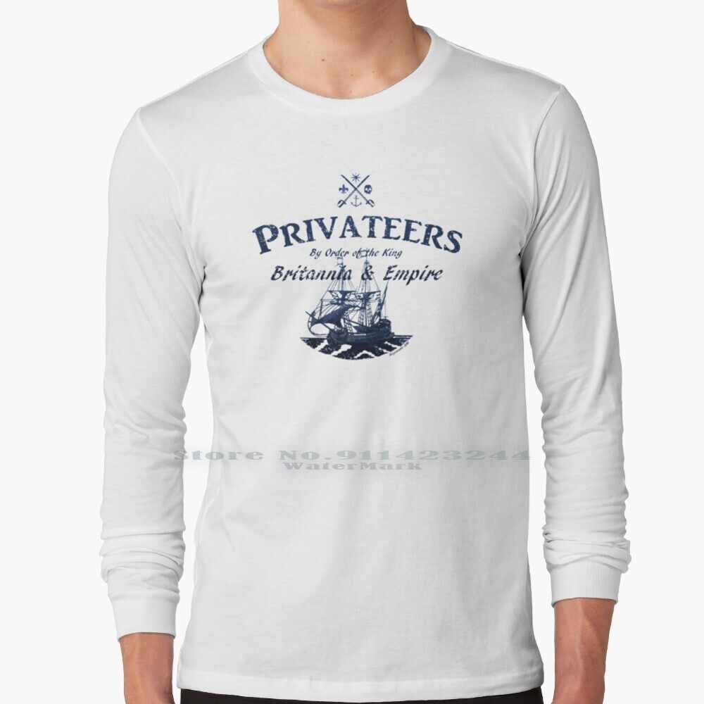 Privateers Long Sleeve T Shirt Tee Jolly Roger Boat Galleon Tall Ship Cannon Sea Ocean Old World New World Piracy Privateer