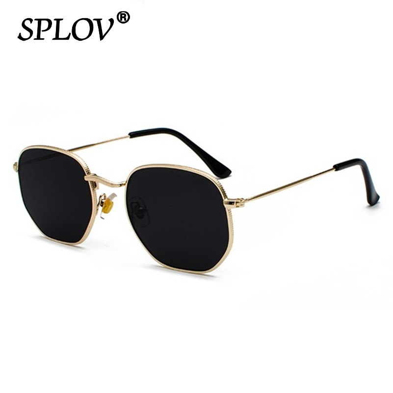 Hexagon Men Women Sunglasses Square Polygon Sun Glasses Brand Designer Retro Shades Metal Frame Eyew