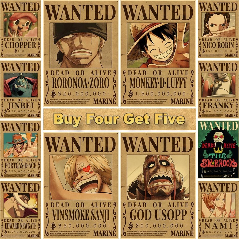 AliExpress - Home Decor Wall Stickers Retro Kraft Paper One Piece Wanted Posters Anime Luffy Poster and Prints Bar Cafe Decorative Painting