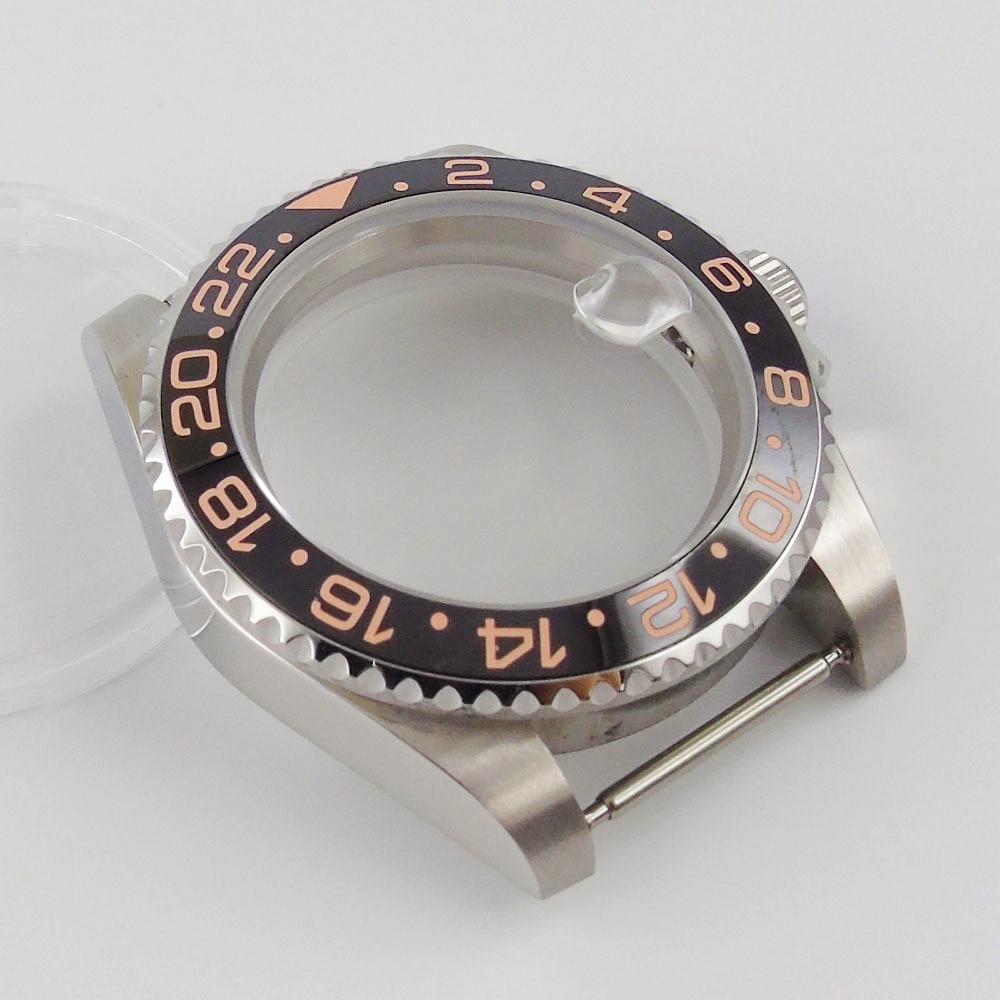 Relógio de Aço Safira sem Lupa Ajuste Movimento Inoxidável Case Cristal Vidro Backcover Nh35 Nh36
