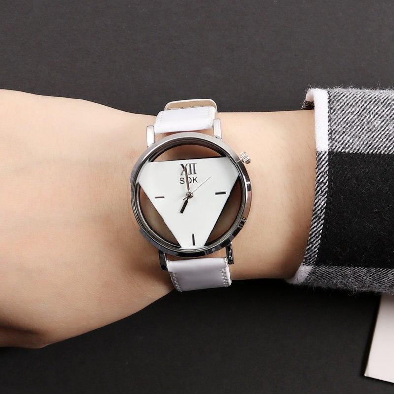Reloj de pulsera de cuarzo de Mujer moderno de lujo de moda ahuecado Triangular Dial Casual regalo para relojes de Mujer a3