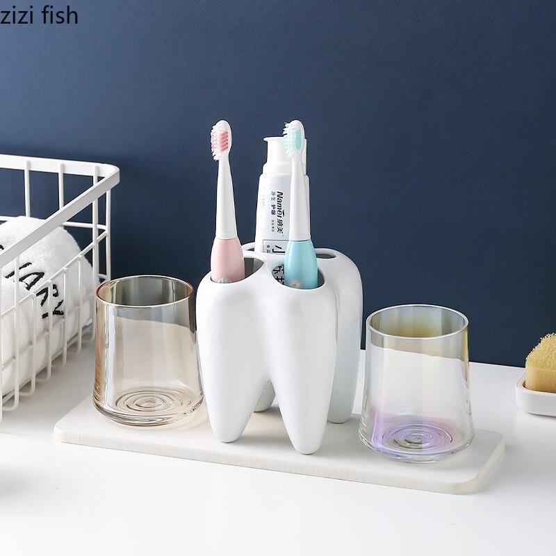Cerámica blanca, conjunto de tres piezas de baño, soporte para cepillo de dientes eléctrico, copa de vidrio transparente para enjuague bucal, almohadilla de barro de diatomeas
