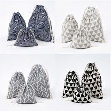 1Pcs Women Men Drawstring Cotton Bags Plaid Fruit Printed Travel Shoes Cosmetics Makeup Toiletry Org