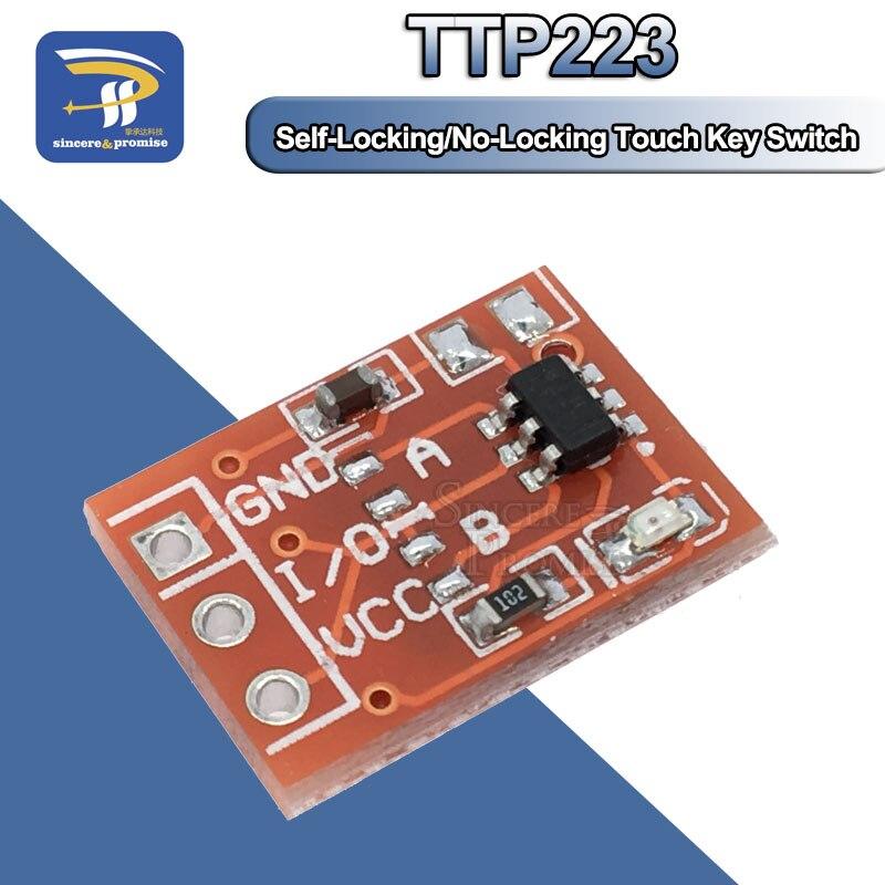 10 шт. TTP223 сенсорный ключ переключатель модуль сенсорная кнопка самоблокирующийся/без блокировки емкостные переключатели одноканальная реконструкция