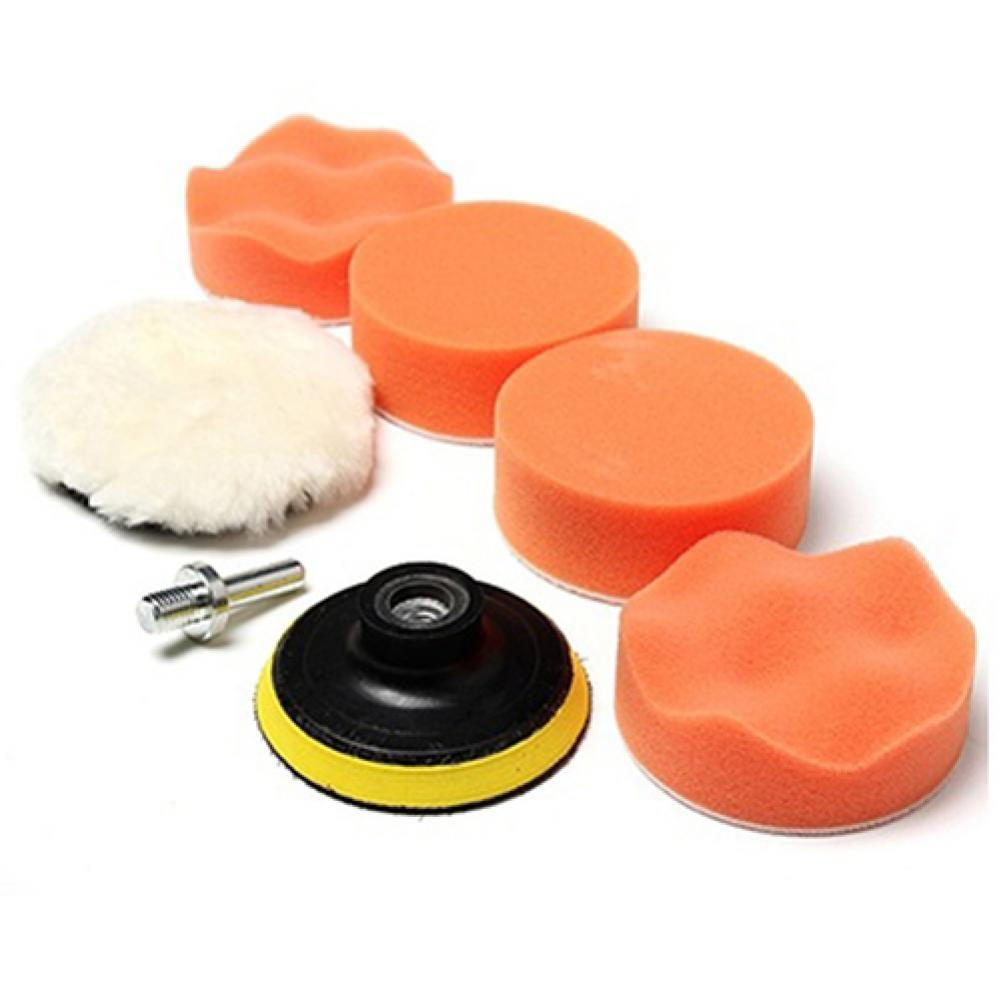 7 Pcs 3inch Buffing Pad Auto Car Polishing Wheel Kit Buffer + Drill Adapter